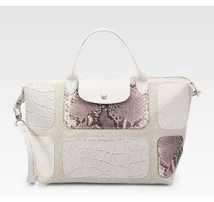 Sac Longchamp Pliage écru patch exotic